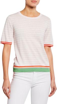 Kule The Corinne Striped Short-Sleeve Top