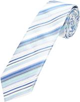 Oxford Silk Tie Stripe Wh/Blu/Gry