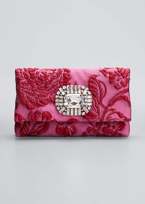 Jimmy Choo Titania Brocade Jeweled Cocktail Clutch Bag