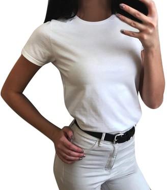 LEXUPE Women Summer Tops Comfortable Cool T-Shirts Casual Fashion Blouses Ladies O-Neck Pure Color Short Sleeve Blouse Casual T-Shirt Tops (White M)