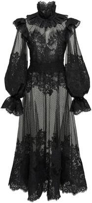 Zimmermann Ruffled Flocked Tulle Maxi Dress