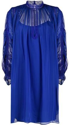 Alberta Ferretti Oversized Lace Panel Dress