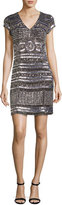 Parker Cap-Sleeve Beaded Mini Cocktail Dress, Silver