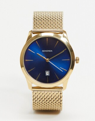 Sekonda mesh watch in gold with blue dial