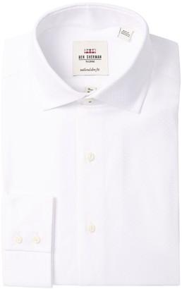 Ben Sherman Tonal Diamond Textured Tailored Slim Fit Dress Shirt