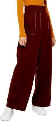 Topshop Rust Wide-Leg Trousers