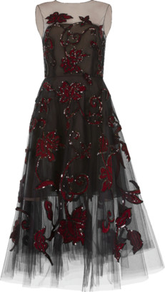 Oscar de la Renta Tulle Ruby Embroidered Dress