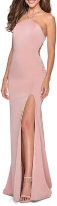 La Femme Embellished Neckline Gown
