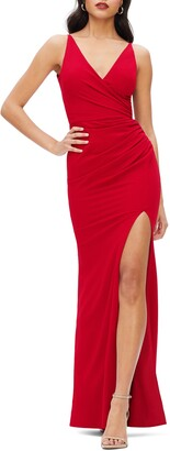 Dress the Population Jordan Ruched Side Slit Gown