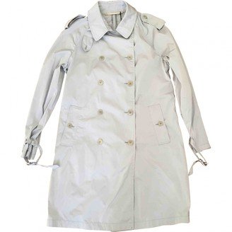 Moncler Silver Polyester Trench coats