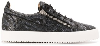 Giuseppe Zanotti Low Top Snakeskin Effect Sneakers