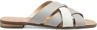 Sole Society Women's Sharonie Strappy Slides Lt. Slate / Fresh White Size 5 Leather From