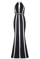 Quiz Black And Cream Keyhole Halter Neck Maxi Dress