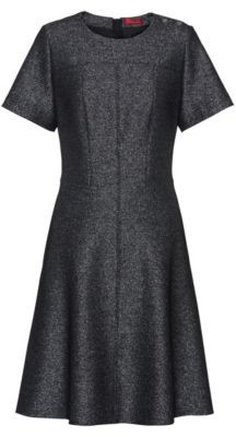 HUGO BOSS A-line dress in sparkling fabric with visible zip