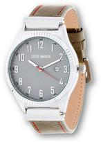 Steve Madden Silvertone Gray Leather Band Watch