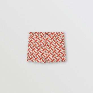 Burberry Monogram Print Cotton Poplin Shorts