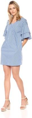 Kensie Women's Gingham Check Tiered Sleeve Dress