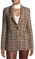 Theory Power Bexley Plaid Wool Blazer Jacket, Multi