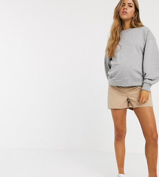 Asos DESIGN Maternity chino short with under the bump waistband in stone