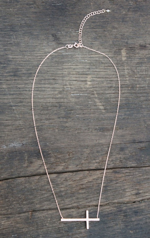 Natalie B Pave Sideways Cross Necklace