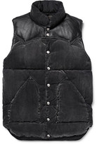 Rocky Mountain Featherbed Leather-trimmed Washed Cotton-blend Corduroy Down Gilet
