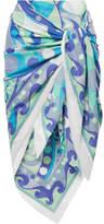 Emilio Pucci Nigeria Printed Cotton-voile Pareo - Blue
