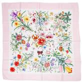 One Kings Lane Vintage Gucci Pink Botanical Floral Silk Scarf