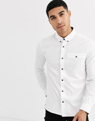 Burton Menswear dobby shirt in white