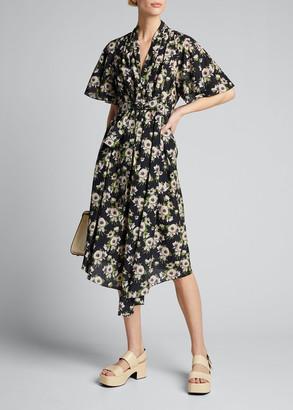 Adam Lippes Floral-Print Cotton-Silk Asymmetric Dress