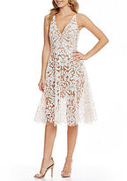 Dress the Population Blair Deep V-Neck Sequin Lace Midi Dress
