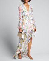 Caroline Constas Liv Printed Long-Sleeve High-Low Gown