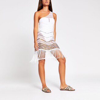 River Island Womens White One Shoulder Beach Cover Up