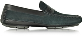 Moreschi Bahamas Black Perforated Nubuck Driver Shoes w/Rubber Sole