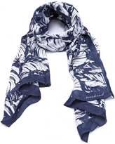 Max Mara Weekend Womens Agora Scarf, Leaf Print Navy White