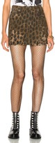 R 13 High Rise Mini Skirt in Animal Print,Brown,Neutrals.