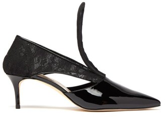 Christopher Kane Cut-out Lace-insert Patent-leather Pumps - Womens - Black