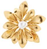 Oscar de la Renta Glass Pearl Goldtone Flower Brooch