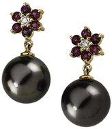 KATARINA 14K Yellow Gold 1/8 ct. Diamond 2.5 MM Rhodolite Garnet and Tahitian Cultured Pearl Floral Earrings