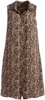 Three Dots Natural Leopard Piper Sleeveless Shirt Dress