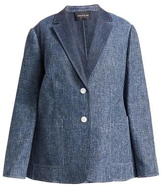 Lafayette 148 New York, Plus Size Vangie Single-Breasted Denim Blazer