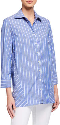 Finley Reverse Pinstripe 3/4-Sleeve Trapeze Shirt