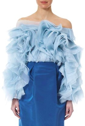 Carolina Herrera Faux-Pearl Embellished Chiffon Ruffle Off-The-Shoulder Blouse