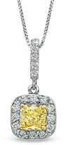 Zales 5/8 CT. T.W. Enhanced Yellow and White Diamond Drop Pendant in 14K White Gold