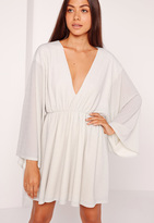 Missguided Kimono Sleeve Plunge Skater Dress Silver