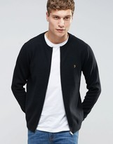 Farah Slim Zip Thru Knit Cardigan In Black