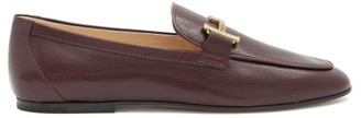 Tod's Double T-bar Leather Loafers - Burgundy