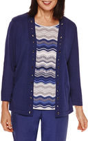 Alfred Dunner Crescent City Stripe Layered Sweater