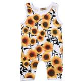 honeys Newborn Baby Boys Girls Sleeveless Sunflower Button Romper Vest Sunsuit (18-24months, )