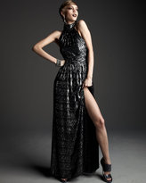 Halston Shimmery Diamond-Print Gown