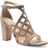 Isola Despina King Suede Laser Cut Block Heel Ankle Strap Sandal